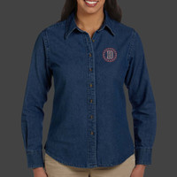 Medallion - M550W Harriton Ladies' 6.5 oz. Long-Sleeve Denim Shirt